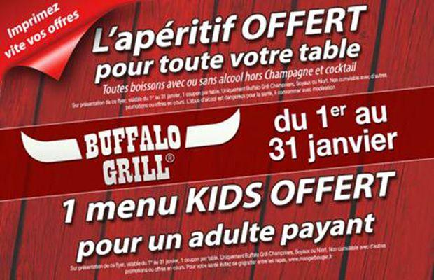 Buffalo Grill - 1 menu kids offert pour 1 adulte acheté