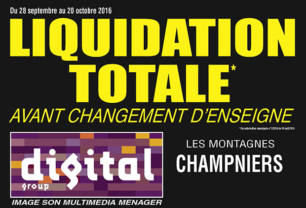 Digital Champniers - Liquidation totale
